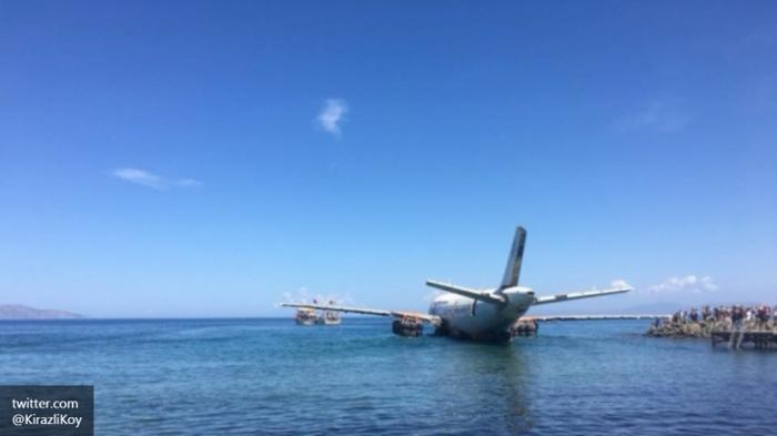 Airbus 320 затопили в прибрежной зоне Кушадасов